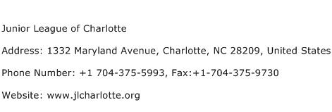 Junior League of Charlotte Address Contact Number