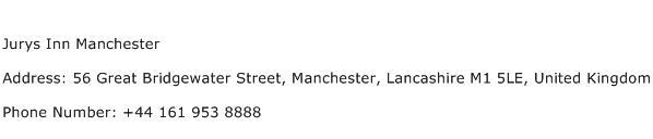 Jurys Inn Manchester Address Contact Number