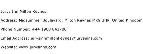 Jurys Inn Milton Keynes Address Contact Number