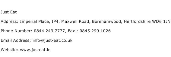 Just Eat Address Contact Number