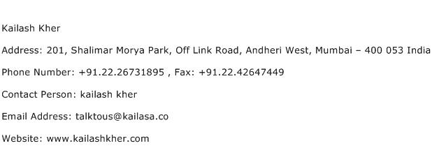 Kailash Kher Address Contact Number