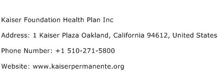 Kaiser Foundation Health Plan Inc Address Contact Number