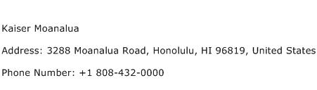 Kaiser Moanalua Address Contact Number