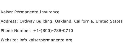 Kaiser Permanente Insurance Address Contact Number