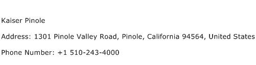 Kaiser Pinole Address Contact Number