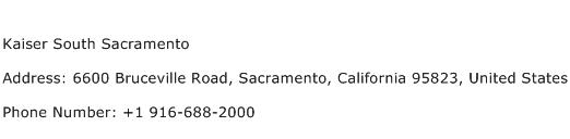 Kaiser South Sacramento Address Contact Number