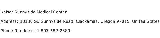Kaiser Sunnyside Medical Center Address Contact Number