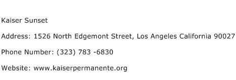 Kaiser Sunset Address Contact Number
