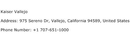 Kaiser Vallejo Address Contact Number