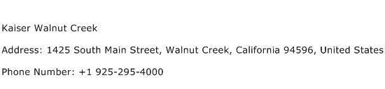 Kaiser Walnut Creek Address Contact Number