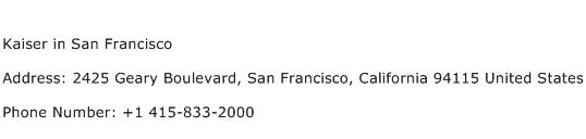 Kaiser in San Francisco Address Contact Number