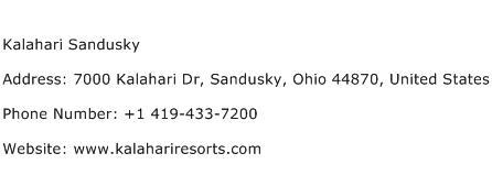 Kalahari Sandusky Address Contact Number