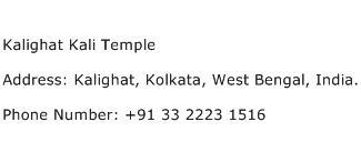 Kalighat Kali Temple Address Contact Number