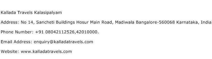 Kallada Travels Kalasipalyam Address Contact Number