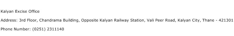 Kalyan Excise Office Address Contact Number