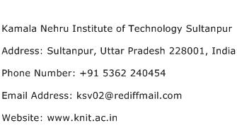 Kamala Nehru Institute of Technology Sultanpur Address Contact Number