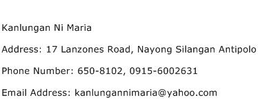 Kanlungan Ni Maria Address Contact Number