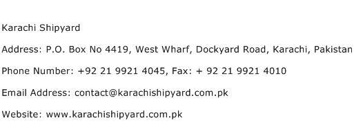 Karachi Shipyard Address Contact Number
