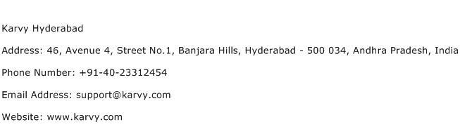Karvy Hyderabad Address Contact Number