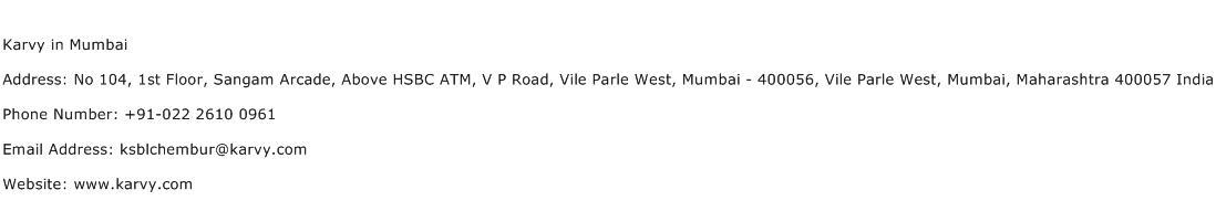 Karvy in Mumbai Address Contact Number
