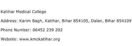 Katihar Medical College Address Contact Number