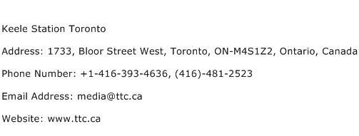 Keele Station Toronto Address Contact Number