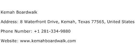 Kemah Boardwalk Address Contact Number