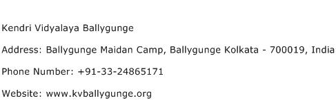 Kendri Vidyalaya Ballygunge Address Contact Number