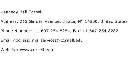 Kennedy Hall Cornell Address Contact Number