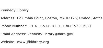 Kennedy Library Address Contact Number