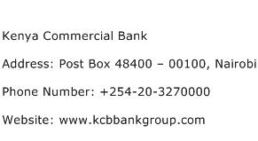 Kenya Commercial Bank Address Contact Number