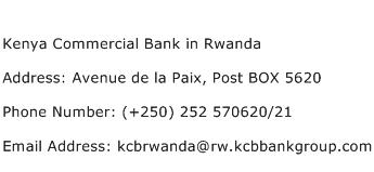 Kenya Commercial Bank in Rwanda Address Contact Number