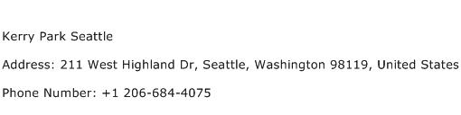 Kerry Park Seattle Address Contact Number