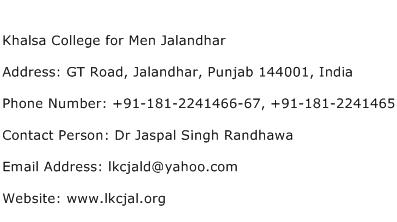 Khalsa College for Men Jalandhar Address Contact Number