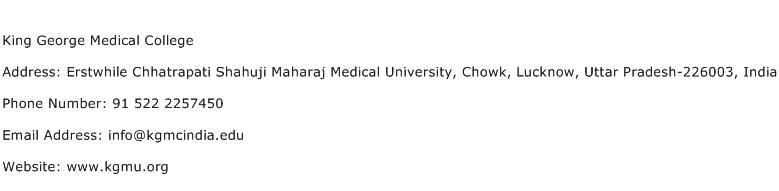 King George Medical College Address Contact Number