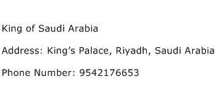 King of Saudi Arabia Address Contact Number