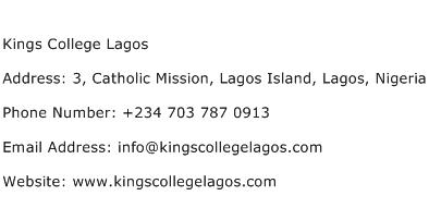 Kings College Lagos Address Contact Number