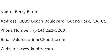 Knotts Berry Farm Address Contact Number