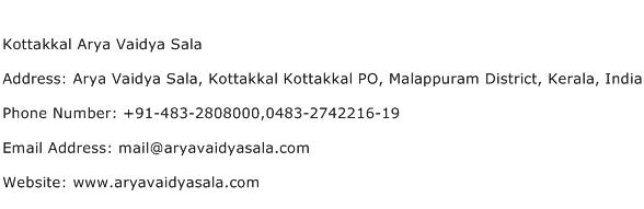 Kottakkal Arya Vaidya Sala Address Contact Number