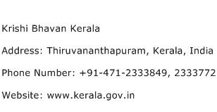 Krishi Bhavan Kerala Address Contact Number