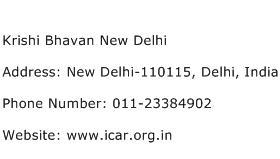 Krishi Bhavan New Delhi Address Contact Number