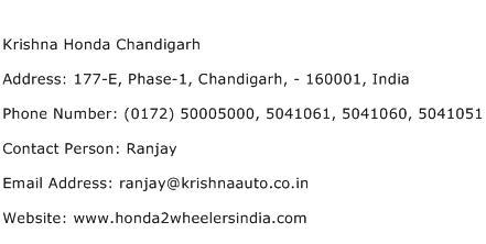 Krishna Honda Chandigarh Address Contact Number