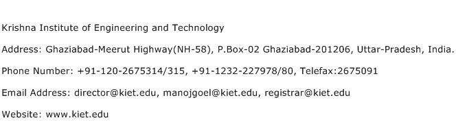 Krishna Institute of Engineering and Technology Address Contact Number