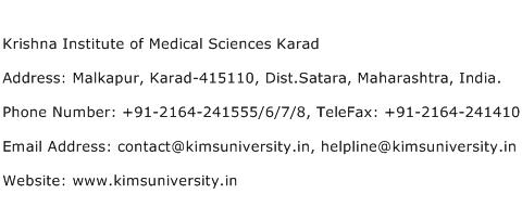 Krishna Institute of Medical Sciences Karad Address Contact Number