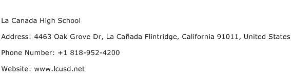 La Canada High School Address Contact Number