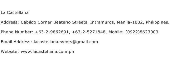 La Castellana Address Contact Number