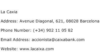La Caxia Address Contact Number