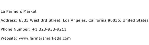 La Farmers Market Address Contact Number