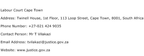 Labour Court Cape Town Address Contact Number