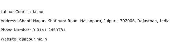Labour Court in Jaipur Address Contact Number
